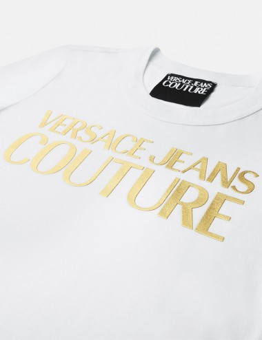 T-shirt con logo laminato oro