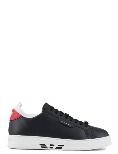 Sneakers in pelle blu navy...