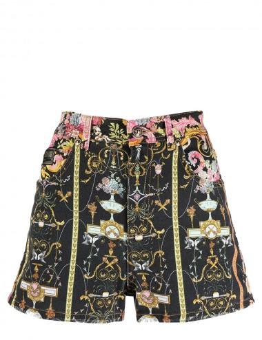 Shorts denim con stampa Rococo