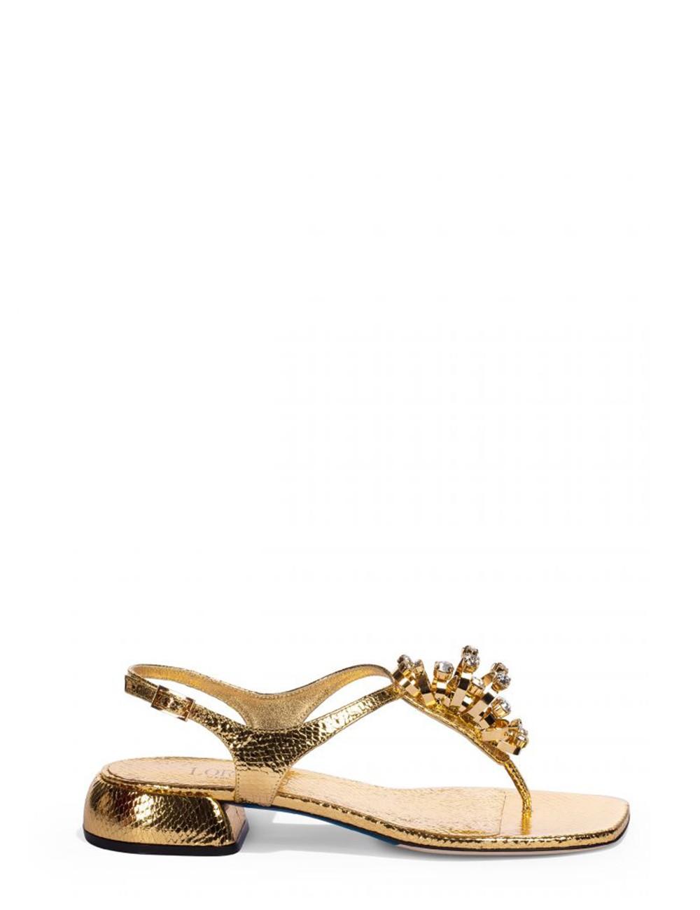 Sandali gioiello in vernice dorata effetto animalier