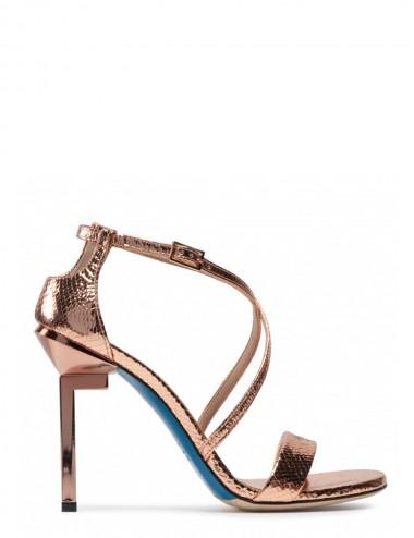 Sandali in vernice oro rosa...