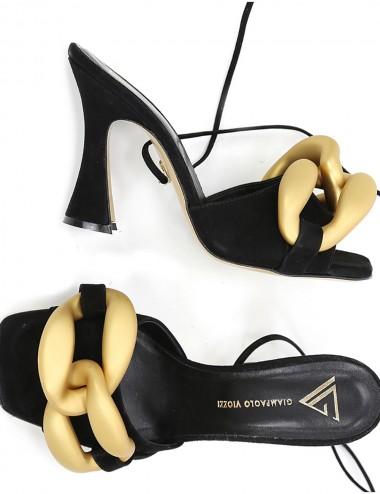 Sandali alti in camoscio nero