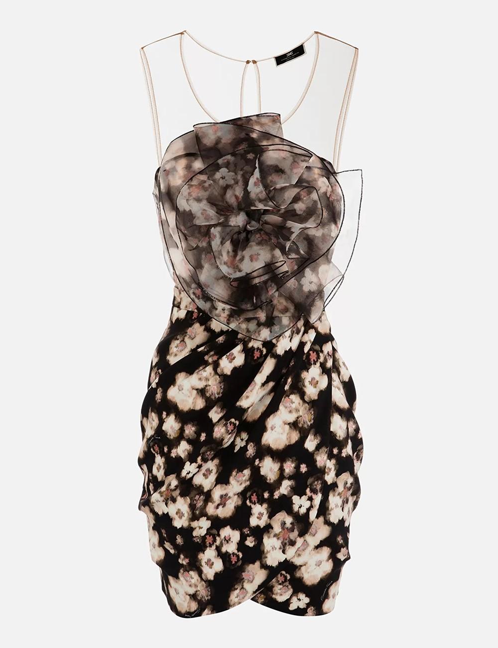Abito stampato fiore acquerello nero