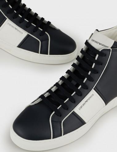 Sneakers high-top in pelle soft con dettagli gros grain