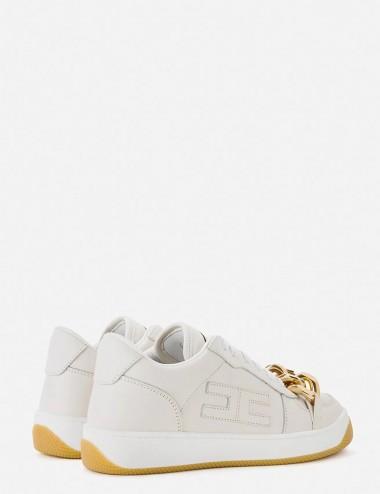 Sneakers avorio con catena